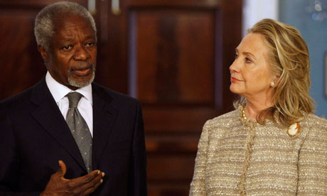 Hillary Clinton and Kofi Annan