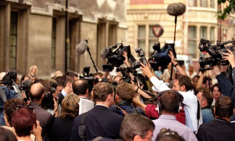 Media scrum in London