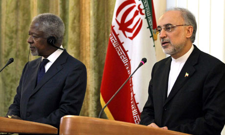 Iranian foreign minister Ali-Akbar Salehi and  UN-Arab League envoy Kofi Annan
