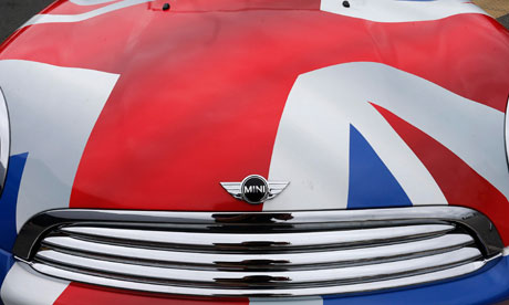 A Mini painted with a Union flag at car making plant in Oxford