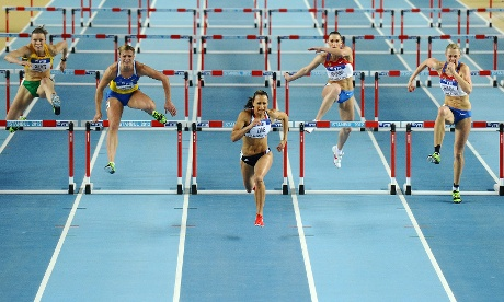 Jessica Ennis leads the women's pentathlon 60m hurdles at the 2012 IAAF World Indoor Athletics Championships in Istanbul on 9 March 9 2012. Photograph: Mustafa Ozer/AFP/Getty Images