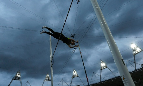 British record holder Holly Bleasdale performs in a guest women's pole vault competition during the British Universities and Colleges Sport Athletics Championship (BUCS) at the Olympic Stadium in the Olympic Park in London on 5 May 2012. Photograph: Matt Dunham/AP