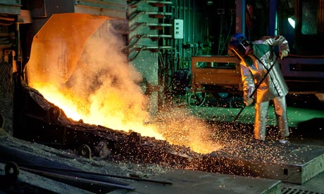 Nickel smelting at an Xstrata plant in Canada