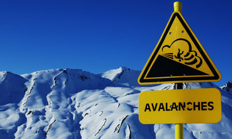 An avalanche warning sign in the French Alps