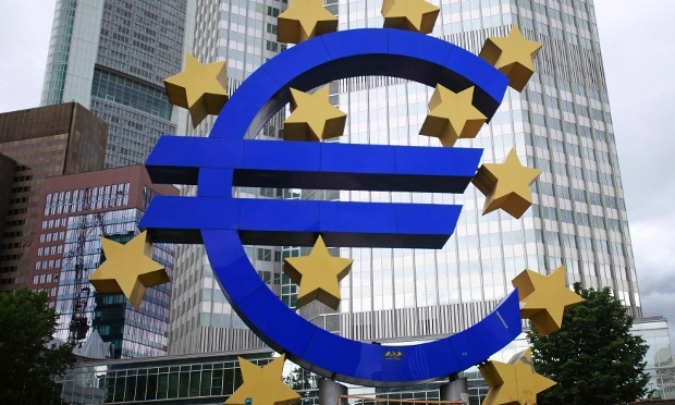 A structure showing the Euro currency sign is seen in front of the European Central Bank (ECB) head