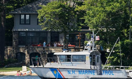 A Police Marine Patrol Boat is seen near the vacation home of Mitt Romney o