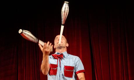 A circus juggler