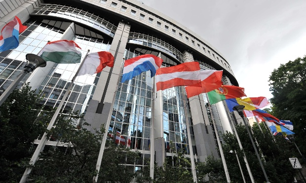 Flags of the EU member states fly outside the Europea