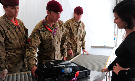 Soldiers check bags at Olympic Park