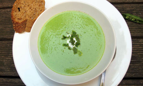 soup with lemon pea and mint soup chilled pea soup with crème ...