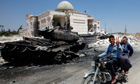 Destroyed tanks and mosque in rebel control Azaz Syria