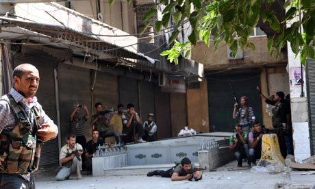 Free Syrian Army opposition fighters battle Assad forces in Aleppo