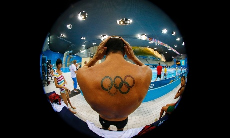A diver prepares for training at the Aquatics Centre