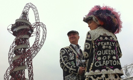 The Pearly Queen Clapton arrives for the opening ceremony