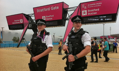 Police at the Stratford gate of the Olympic park