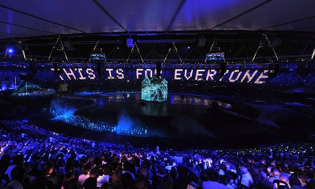 Lights around the Olympic stadium read 'This is for Everyone', referring to the world wide web as Sir Tim Berners-Lee joins the opening ceremony