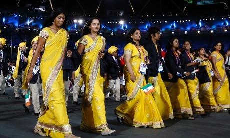 The Indian team enter the stadium at the London 2012 opening ceremony