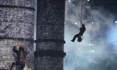 Factory chimneys symbolise the industrial revolution during a sequence at the London 2012 opening ceremony