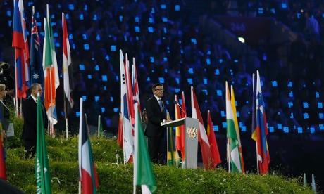 Sebastian Coe speaks during the London 2012 opening ceremony