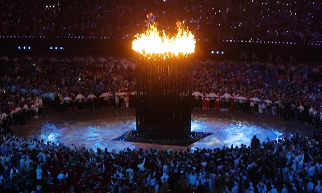 The Olympic cauldron is lit during the London 2012 opening ceremony
