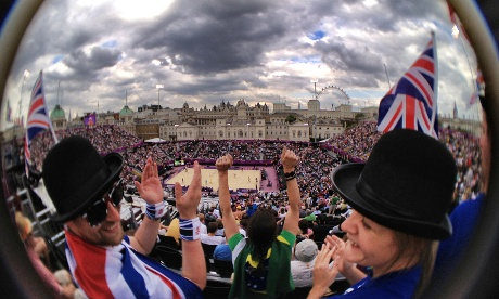 The Olympic beach volleyball venue at Horse Guards Parade.