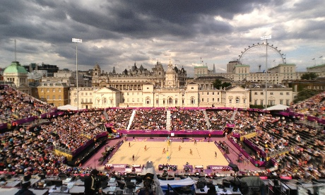 The women's beach volleyball court at Horse Guards Parade.