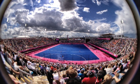 The Women's hockey at the Olympic stadium. The Netherlands play Belgium. This was taken bt The Guardian's Dan Chung on an iPhone 4s with a Schneider lens and processed through Snapseed