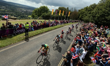 Before the very damp finish, the peloton climbs Box Hill in glorious sunshire during the Women's Road Race Road. Photograph: Streeter Lecka/ Getty Images
