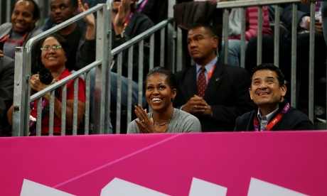 Michelle Obama watches the basketball game