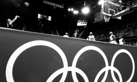 The Olympics rings at the side of the court where the USA