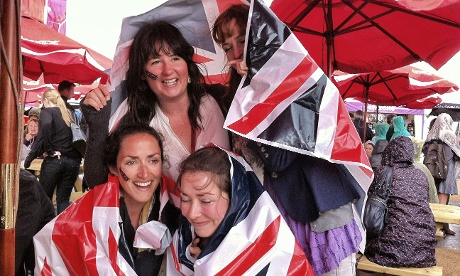 Union Jack rain covers in the Olympic park