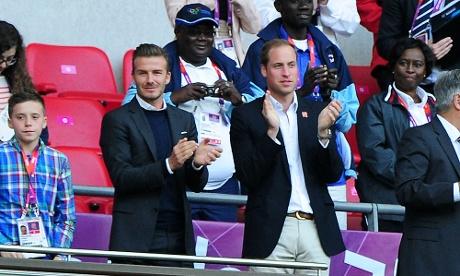 David Beckham and Prince William applaud Ryan Giggs' goal at Wembley Stadium.
