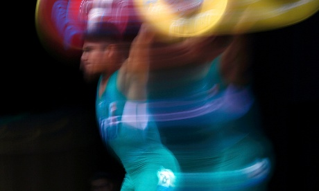 Mexico's Jose Montes Gongora competes on the men's 56Kg Group A weightlifting competition