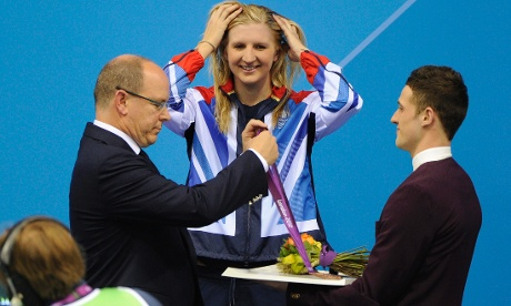 Rebecca Adlington being presented with her bronze medal