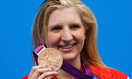Britain's Rebecca Adlington poses with her bronze medal