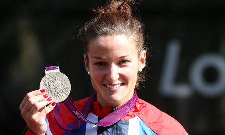 Lizzie Armitstead with her Olympic silver medal after the women's road race