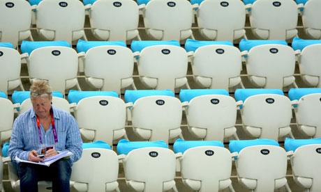 Empty seats in Aquatics Centre Monday 30 July