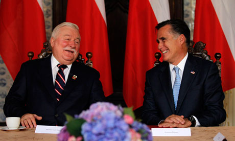 Mitt Romney and Lech Walesa