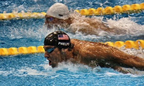 The USA's Michael Phelps in the semifinals of the Men's 200m butterfly.