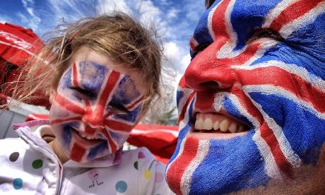 Fans with Union Jack face paint