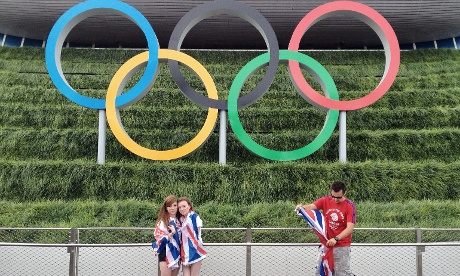 The Olympic rings at the Aquatic centre proved to be a popular photo spot
