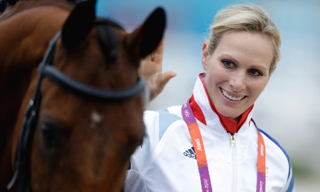 Zara Phillips after her horse High Kingdom passed its inspection before the equestrian eventing showjumping phase on 31 July 2012. Photograph: David Goldman/AP