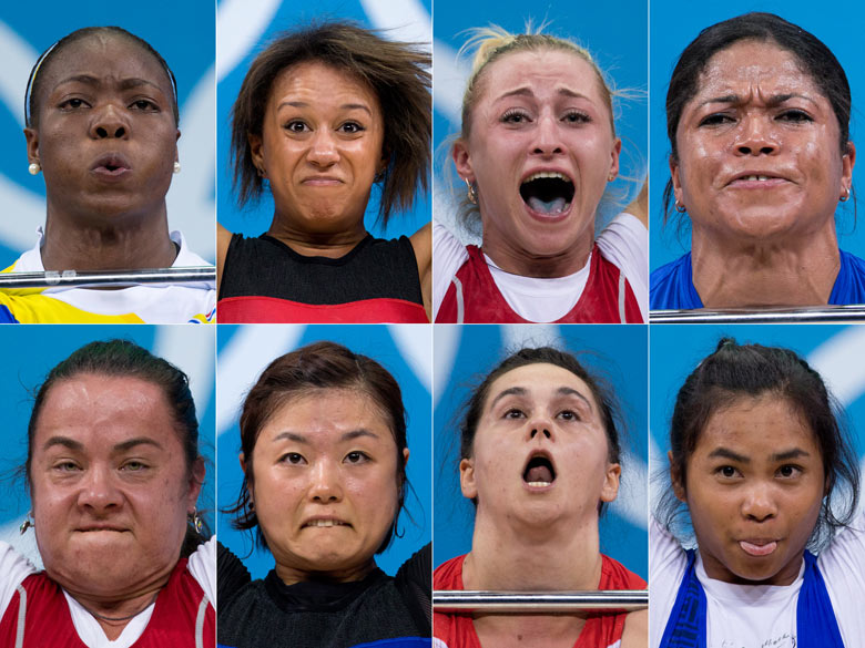 Competitors in the Women's 58kg Weightlifting round at the London 2012 Olympics Games