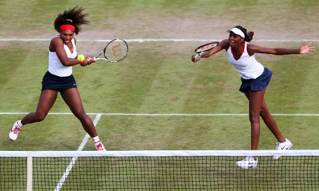 Serena and Venus Williams in the Olympic women's doubles on 30 July 2012. Photograph: Clive Brunskill/Getty Images