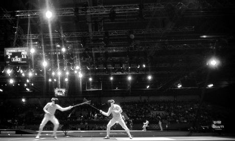 Germany's Benjamin Kleibrink and Yuki Ota of Japan in the mens fencing at the ExCeL.