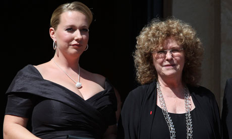 Katharina Wagner and Eva Wagner-Pasquier arrive on the red carpet in  Bayreut