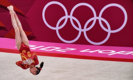 China's Huang Qiushuang on the Floor in the Women's team Artistic Gymnastics