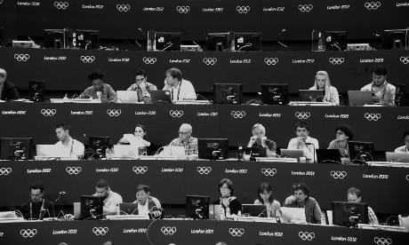 The media at work in the stands at the Women's team Artistic Gymnastics