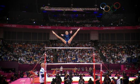 Team GB's Rebecca Tunney competes in the Women's team uneven bars at the North Greenwich Arena