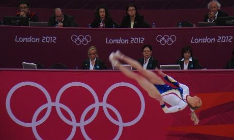 Romania's Sandra Raluca Izbasa on the Floor in the Women's team Artistic Gymnastics